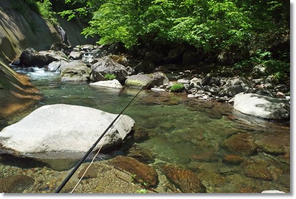 フライロッド写る谷川の綺麗な流れ