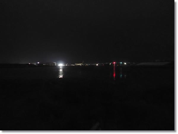 夜の旧北上川からの石巻の夜景