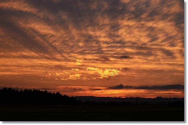 夕日に赤く染まる空