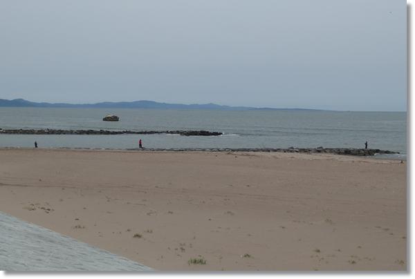 野蒜海岸河口の砂浜