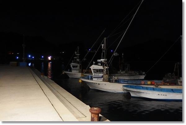 夜の牡鹿半島の漁港