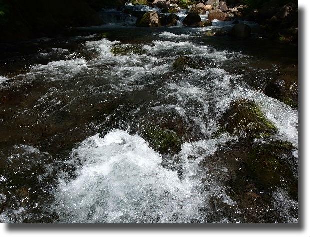 勢いよく流れる渓流の流れ
