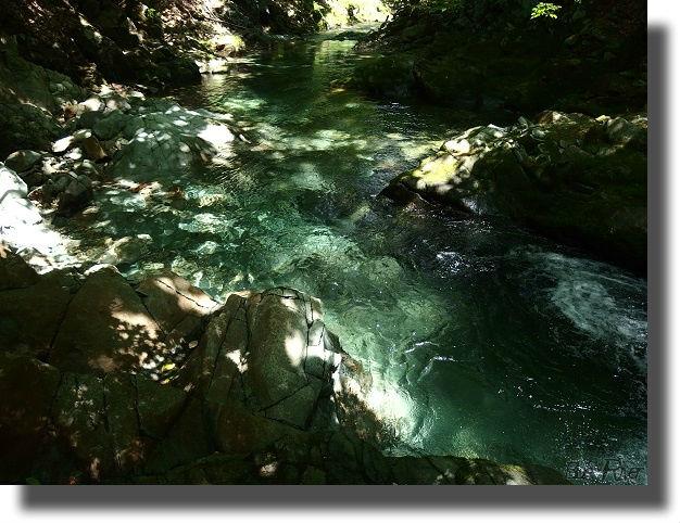 青く光る川の源流部